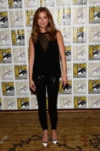 Emily Vancamp, J Brand black leather legging pants